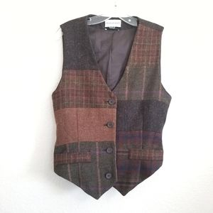 Vintage Charles Klein Wool Patch Vest Size 10